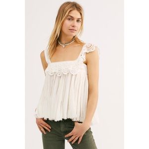 Free People Tops - Free People Garden Party Eyelet Swing Top White